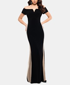 XSCAPE Petite Off-The-Shoulder Embellished Gown