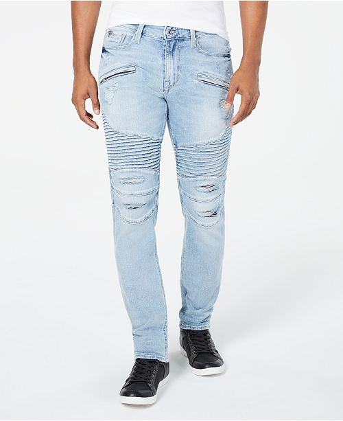GUESS Men's Slim Tapered-Fit Stretch Destroyed Moto Jeans