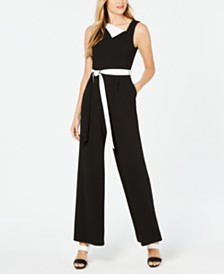 Calvin Klein Asymmetrical Fold-Over Jumpsuit