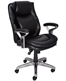 Serta Wellness Mid-Back Leather Office Chair, Quick Ship