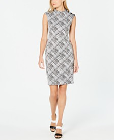 Calvin Klein Plaid Mock-Neck Dress