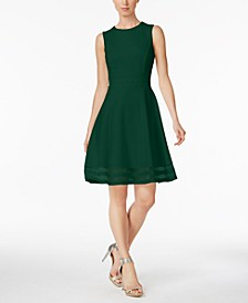 Illusion-Trim Fit & Flare Dress, Regular & Petite Sizes