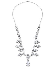 """Giani Bernini Cubic Zirconia Fancy Floral 18"""" Statement Necklace in Sterling Silver, Crated for Macy's"""