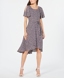 Anne Klein Printed Flutter-Sleeve Midi Dress