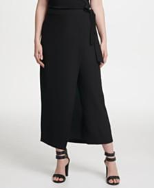 DKNY Wrap-Front Wide-Leg Pants