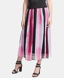 DKNY Printed Pull-On Midi Skirt