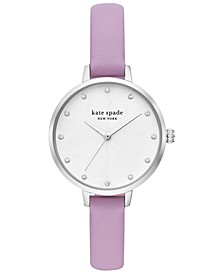 Women's Metro Purple Leather Strap Watch 34mm