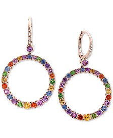 EFFY® Multi-Sapphire (4-1/4 ct. t.w.) & Diamond Accent Hoop Earrings in 14k Rose Gold