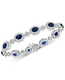 EFFY® Sapphire (9-1/2 ct. t.w.) & Diamond (5/8 ct. t.w.) Bangle Bracelet in 14k White Gold