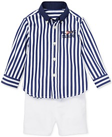 Polo Ralph Lauren Baby Boys Striped Shirt & Chino Shorts Set
