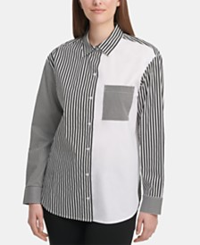 DKNY Colorblocked Striped Shirt