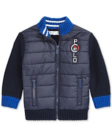 Polo Ralph Lauren Baby Boys Quilted Full-Zip Sweater