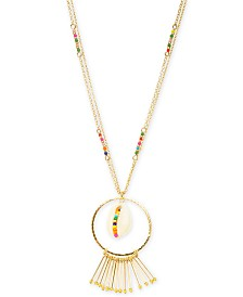 "I.N.C. Gold-Tone Multicolor Bead & Shell Long Pendant Necklace, 32"" + 3"" extender, Created for Macy's"