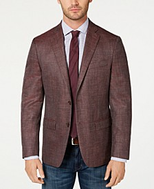 Men's Classic-Fit UltraFlex Stretch Dark Pink Textured Sport Coat