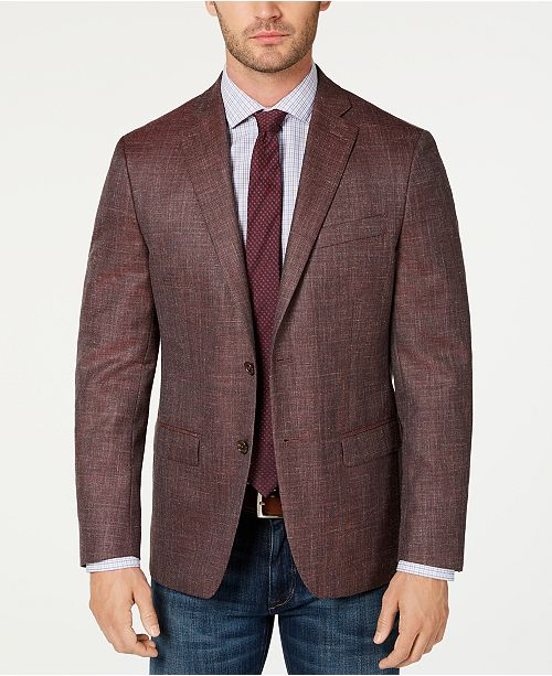 Lauren Ralph Lauren Men's Classic-Fit UltraFlex Stretch Dark Pink Textured Sport Coat