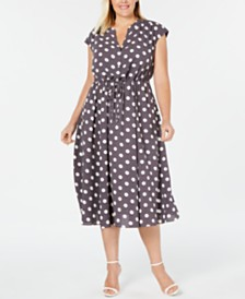 Anne Klein Plus Size Polka Dot Drawstring Midi Dress