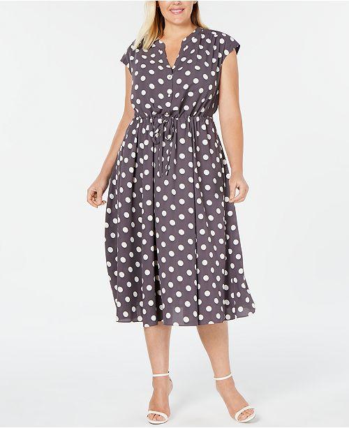 Anne Klein Plus Size Polka Dot Drawstring Midi Dress ...