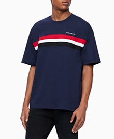 Calvin Klein Jeans Men's Ribbed-Stripe T-Shirt