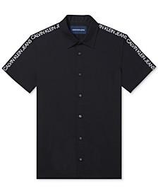 Men's Logo-Sleeve Poplin Shirt
