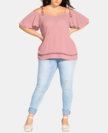 City Chic Plus Size Sun Kissed Off-The-Shoulder Top