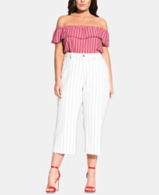 City Chic Plus Size Cotton Pinstriped Cropped Jeans