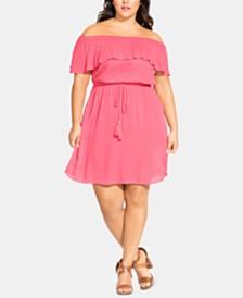 City Chic Trendy Plus Size Sun-Kissed Off-The-Shoulder Dress