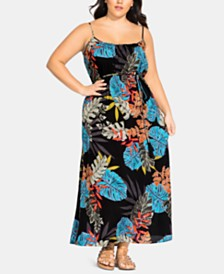 City Chic Trendy Plus Size Tahiti Printed Maxi Dress