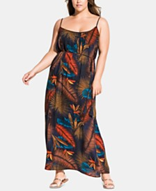 City Chic Trendy Plus Size Palm-Print Maxi Dress