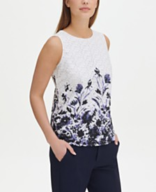 Tommy Hilfiger Floral-Print Eyelet-Lace Top, Created for Macy's