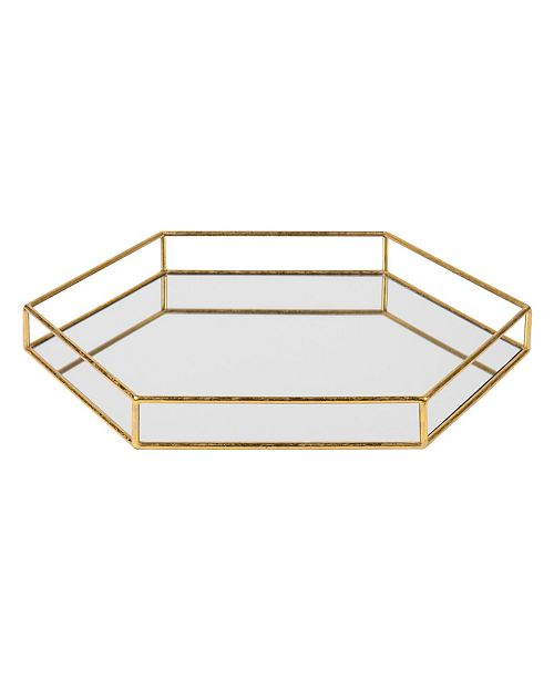 Kate and Laurel Felicia Metal Mirrored Hexagon Decorative Tray