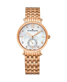 Alexander Watch AD201B-03, Ladies Quartz Small-Second Watch with Rose Gold Tone Stainless Steel Case on Rose Gold Tone Stainless Steel Bracelet