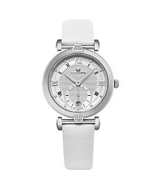 Alexander Watch AD202-01, Ladies Quartz Small-Second Date Watch with Stainless Steel Case on White Satin Strap