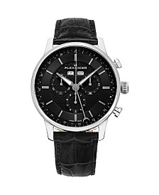 Alexander Watch A101-02, Stainless Steel Case on Black Embossed Genuine Leather Strap