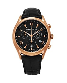Alexander Watch A021-03, Stainless Steel Rose Gold Tone Case on Black Embossed Genuine Leather Strap