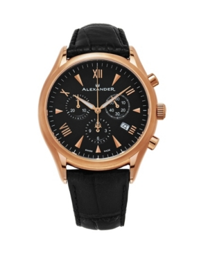 Image of Alexander Watch A021-03, Stainless Steel Rose Gold Tone Case on Black Embossed Genuine Leather Strap
