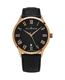 Alexander Watch A103-05, Stainless Steel Rose Gold Tone Case on Black Embossed Genuine Leather Strap