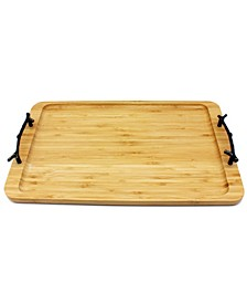 Bamboo Tray with Wrought Iron Handles