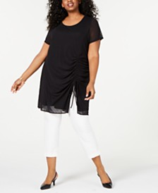 Alfani Plus Size Ruched Drawstring Tunic, Created for Macy's