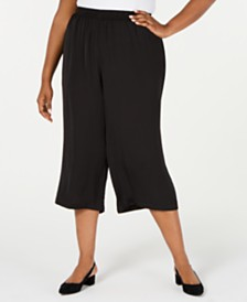 Alfani Plus Size Washed Satin Culottes, Created for Macy's