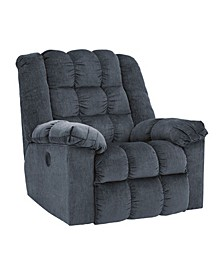 Offex Signature Design by Ashley Ludden Power Rocker Recliner in Blue Twill