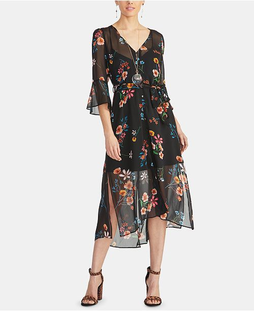 RACHEL Rachel Roy Rosita Floral Button-Front Midi Dress