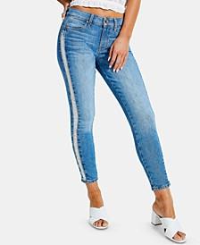 Destroyed Fringe Skinny Jeans