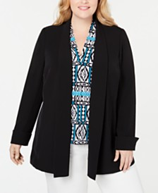 Calvin Klein Plus Size Open-Front Topper Jacket