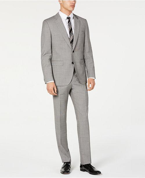 Hugo Boss HUGO Hugo Boss Men's Slim-Fit Light Gray Crosshatch Suit Separates