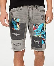 Men's Slim-Fit Patchwork Shorts