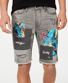 GUESS Men's Slim-Fit Patchwork Shorts