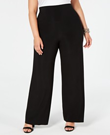 Anne Klein Plus Size High-Waist Wide-Leg Pants