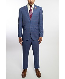 English Laundry Two Button Notch Lapel Slim Fit Men's Blue Windowpane Suit With Flat Front Pants