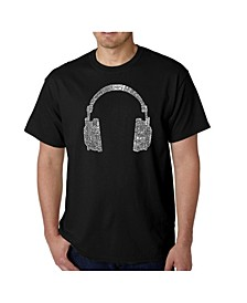 Mens Word Art T-Shirt - Headphones - 63 Genres of Music
