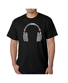LA Pop Art Mens Word Art T-Shirt - Headphones - 63 Genres of Music